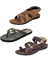 Earton Men Combo Pack of 3 Sandals & Floaters with Slippers