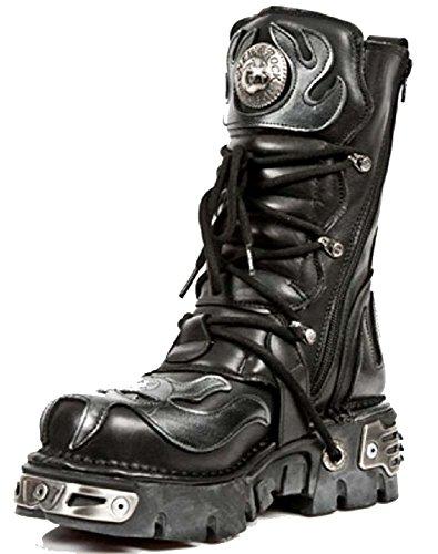 Schwarze Lederstiefel mit silbernem Leder Flamme Detail & Teufel SchŠdel Reaktor Stiefel. Von der New Rock Metallic Collection Schwarz Und Silber