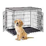 Relaxdays Hundekäfig, Faltbare Hundetransportbox Auto, Welpenkäfig, 2 Türen, Bodenschale, Drahtkäfig Metall, XL, Schwarz