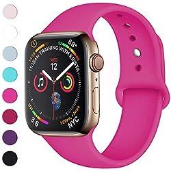 Lerobo Sport Correa para Apple Watch Correa 38mm 42mm 40mm 44mm, Pulsera de Repuesto de Silicona Suave Correa para Apple Watch Series 4, Series 3, Series 2, Series 1, 42mm/44mm M/L Rose Red