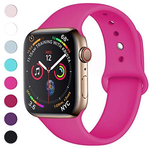 Lerobo Sport Correa para Apple Watch Correa 38mm 42mm 40mm 44mm, Pulsera de Repuesto de Silicona Suave Correa para Apple Watch Series 4, Series 3, Series 2, Series 1, 42mm/44mm S/M Rose Red