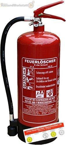 6L-Schaumfeuerlöscher 9 Löscheinheiten Brandklasse AB mit Halterung, Manometer + Instandhaltungsnachweis von Feuerlöscher-Tauschsystem