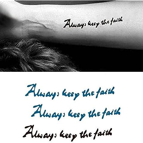 Arte Corporal Pegatinas Tatuaje removibles temporales Siempre mantén la fé Pegatina Tatuaje - ModaVida-- FashionLife