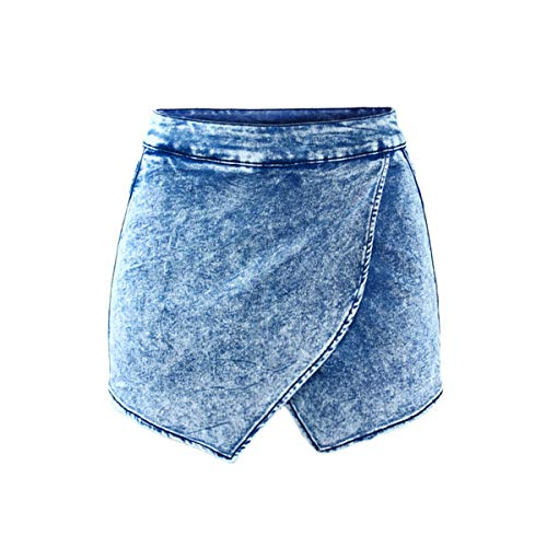 MLULPQ& 1892 Youaxon Women`s Fldas Y Shorts High Waist Acid Wash Denim Short Pants for Women Jeans Skort 32 -