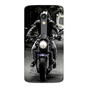 Stylish Bike Rider Multicolor Back Case Cover for Moto X Play