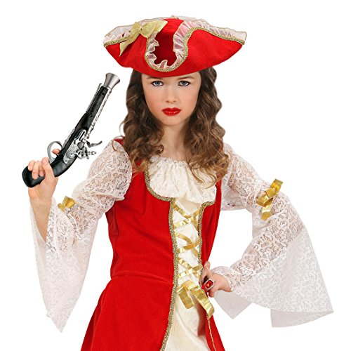NET TOYS Vieux pistolet de pirate pistolet de pirate noir et argent flibustier arme corsaire arme fusil de pirate déguisement accessoire