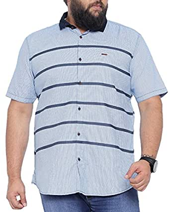 SHOWOFF Mens Linen Half Sleeves Slim Fit Striped Blue Casual Shirt