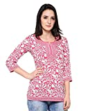 Eternal Women's Printed American Crepe Short Kurta Kurti Tunic Top(TDFEA_73_PINK_XL, Pink)