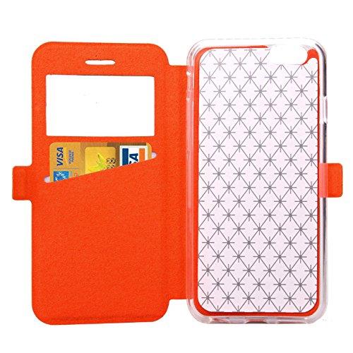 iPhone Case Cover Quadrat-Diamant-Gitter-Muster PU-lederner Fenster-Fall-weicher TPU Abdeckungs-Standplatz-Fall mit Karten-Schlitz für IPhone 6 6s Plus ( Color : White , Size : IPhone 6s Plus ) Orange