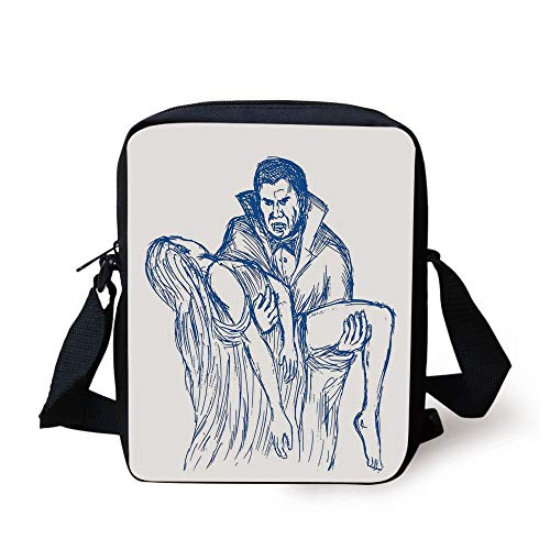 Vampire,Count Dracula in Cape Carrying His Prey Victim Woman Sketchy Halloween Artwork,Blue and White Print Kids Crossbody Messenger Bag Purse