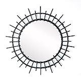 Black Velvet Studio Spiegel, Aloha Haltefeder, Color schwarz. Kreisform. Nordischen Stil. 57x57x2 cm.