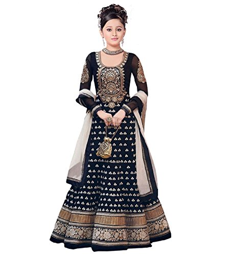 S R Fashion New Arrivels Embroidered Semi-stitched Indo Western Lehenga Choli For Girls(Lehnga_65237_Free Size_Indo Western For 8 To 11 Years Girls)