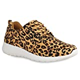Damen Sport BlumenNeon Stoff GlitzerMetallic Lauf Lack Animal Print Sneaker Runners Trainers Schuhe 69846 Leopard Hellbraun 38 Flandell