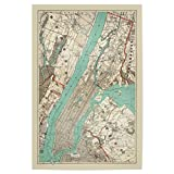 artboxONE Poster 30x20 cm Vintage Map of New York City and Manhattan von Künstler David Springmeyer