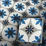 Restposten!!! 1 m² bunte Fliesenspiegel Zementfliesen Ornament Motiv Radia 155_1 blau weiß grau schwarz