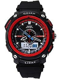 5f9c267bf3e2 UKCOCO Ohsen AD1209 Impermeable Unisex LED analógico Digital con Pantalla  de Hora Dual Reloj Deportivo con