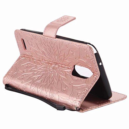 LEMORRY LG Stylo 3 Plus Custodia Pelle Cuoio Flip Portafoglio Borsa Sottile Bumper Protettivo Magnetico Morbido Silicone TPU Cover Custodia per LG Stylo 3 Plus, Fiorire (Porpora) Oro rosa