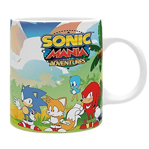 Sonic Mania Adventures - Premium Keramik Tasse - Knuckles und Tails Vs Dr. Eggman - Geschenkbox (Sonic Tails Kostüm)