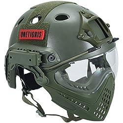OneTigris F22 Casque Intégré Tactique Avec le Système De Protection Faciale Amovible Pour Airsoft (Vert d'armée)