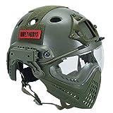 OneTigris, Taktik-Helm F22 mit abnehmbarer Gesichtsmaske und Schutzbrille, Herren, Integrated Helmet, OD Green