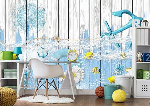 Muraon 3d personalizzato foto carta da parati piccola e fresca bordo marine cartoon pittura decorativa pittura per bambini sfondo carta da parati, 430x300 cm (169.3 by 118.1 in)