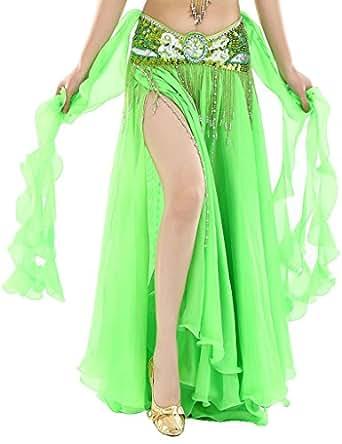 Astage Damen Fairy Stammes-Bauchtanz Rock Chiffon Rock Swing Kostüme Only skirt Apfelgrün