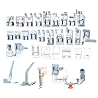 Walmeck 32Pcs Presser Foot Set Domestic Sewing Machine Parts & Accessories Sewing Foot Household Electric Sewing Machine Presser Feet Set