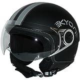 Protectwear Casque moto Jet, Noir Mat, H710,  Taille: M (avec 2 Visières:  teinté et clair)