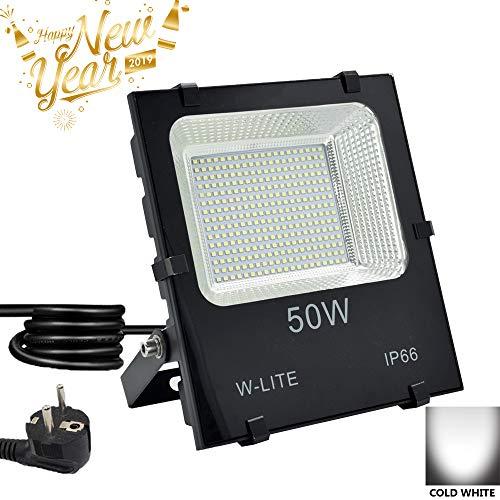 LED Strahler Außen, Fluter 50W mit Zuleitung, Aussenleuchte Wand mit EU-Stecker, IP66 Wasserdicht, Kaltweiß Superhell, Wandstrahler Gartenlampe