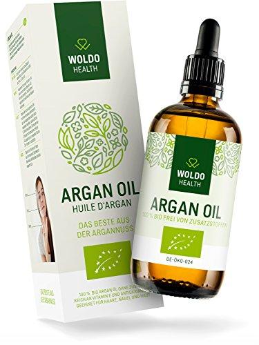 WoldoHealth Arganöl Bio aus Marokko 100% rein kaltgepresst für Haare Haut und Nägel