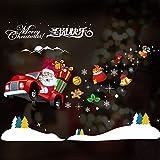 HAPPYLR Weihnachtsschmuck Wandaufkleber Schaufenster Dekoration Glastür Aufkleber Szene Santa Baum Fensteraufkleber, Auto Alter Mann 50 * 72