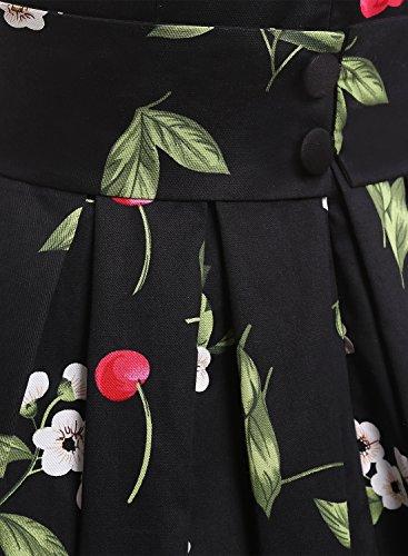Dressystar Robe à 'Audrey Hepburn' Classique Vintage 1950S Style Noir à cerise