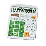Meliya Desktop Taschenrechner Standard funktionale Büro Taschenrechner batteriebetrieben Elektronischer Taschenrechner mit 12-stelligem großem Display, grün