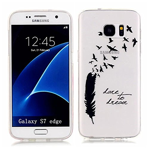 KSHOP Per Samsung Galaxy S7 Edge Custodia Conchiglia fit ultra sottile Silicone Morbido Flessibile TPU Custodia Case Cover Protettivo Skin Caso modello - Piume nera