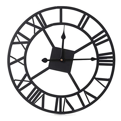 lymty Runde überdimensionierte Roman Numeral Style Home Décor Analog Metal Uhren