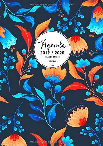 Agenda Clásica Grande 2019-2020: Agenda Semana Vista Vertical | Tamaño Extra Grande Din A4 (21 x 29,7 cm) | Diseño Floral