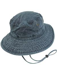 Chapeau Bob à Bord Large Pliable en Coton bleu marine
