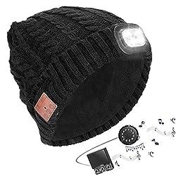 Powcan Wintermütze mit Licht Wireless Bluetooth 5.0 Music Mütze 4 LED Hut USB aufladbare Caps für Männer Frauen warme Strickmütze