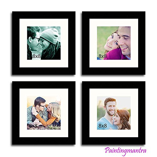 Painting Mantra Royal Memories gallery wall - Set of 4 Individual wall Photo Frames with white mount (Set of 4)(Black)