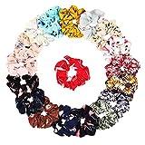 18 Pezzi elastici per capelli set Scrunchies Capelli in Chiffon Fiore Capelli Cravatte Legami Eleganti, 18 Colori