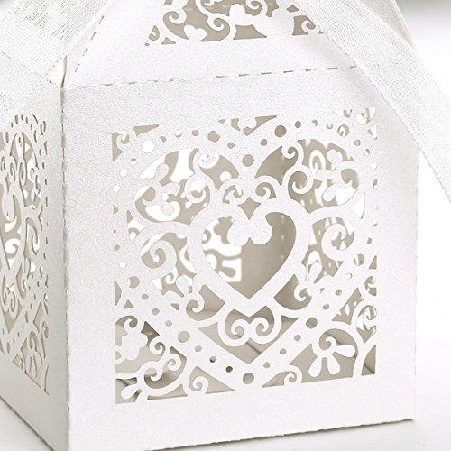 confronta il prezzo 100pz. Carta di Bomboniera Per Confetti Caramelle Battesimo, Matrimonio, Compleanno - Cuore Bianco Avorio miglior prezzo