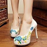 SGVDFGV XHX Feine Schuhe, bestickte Schuhe, wasserdichte High Heels, Retro National Wind Schuhe