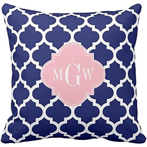 wuqing federa cuscino decorativo, Blu Wht marocchino rosa iniziale Monogram federa copricuscino cover 45,7x 45,7cm
