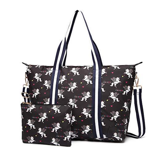 Miss Lulu Damen Vintage Canvas Shopper Handtasche Set 2 Stücke Schultertasche Einkaufstasche mit Geldbörse Unicorn (Einhorn schwarz)