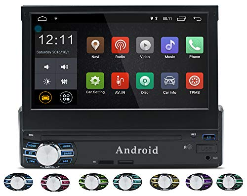 LEXXSON Android Single DIN Autoradio mit GPS Navigation Bluetooth WIFI 7 Zoll Touch Screen | Auto Stereo Unterstützt RDS AUX USB SD Freisprechfunktion MirrorLink Cam-in, Android 6.0