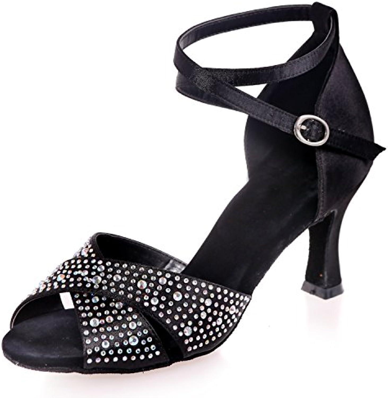 Elobaby Zapatos De Baile De Las Mujeres del Dedo del Pie del TacóN Medio Sandalias De Seda Rhinestones Glitter...