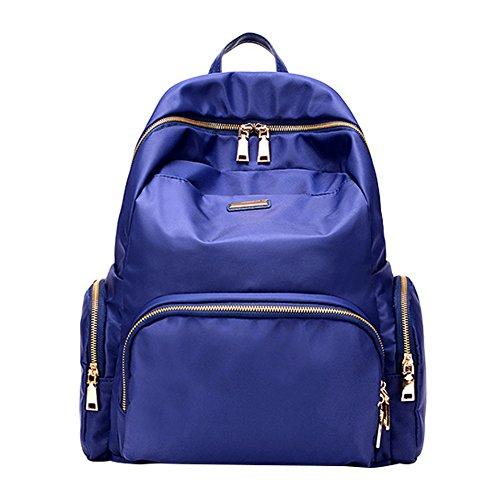 PB-SOAR Damen Herren Nylon Wasserdichter Rucksack Rucksackhandtaschen Daypack Schulranzen Handtasche Freizeittasche 34 x 38 x 13cm (B x H x T) (Schwarz) Blau