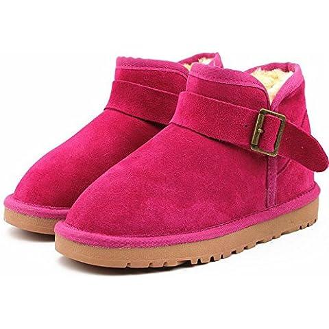 Bajo el invierno cilindro de botas para la nieve tendón en el extremo de la hebilla de cuero botas de las mujeres calientes planas con botas calientes , rose red , 39