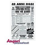 Biglietto auguri giornale compleanno 40 anni amico