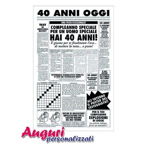 Estremamente Biglietto auguri giornale compleanno 40 anni amico OH85
